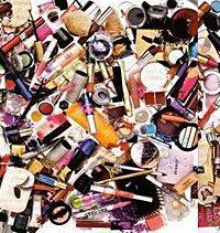 pile of makeup stock photo