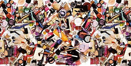 pile of makeup stock photo