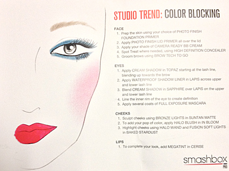 smashbox cosmetics face chart makeup show la 2013