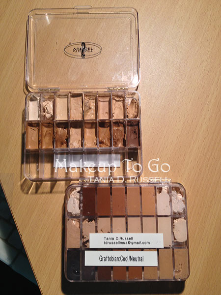 vueset empty makeup palette filled with graftobian HD creme foundations