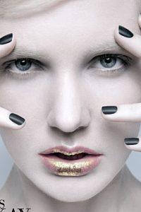 kate szatmari bisous magazine metallics editorial tania d russell makeup artist