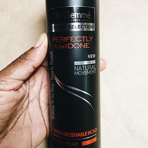 makeup to go blog lifesavers Tresemme Perfectly Undone brushable hold hairspray